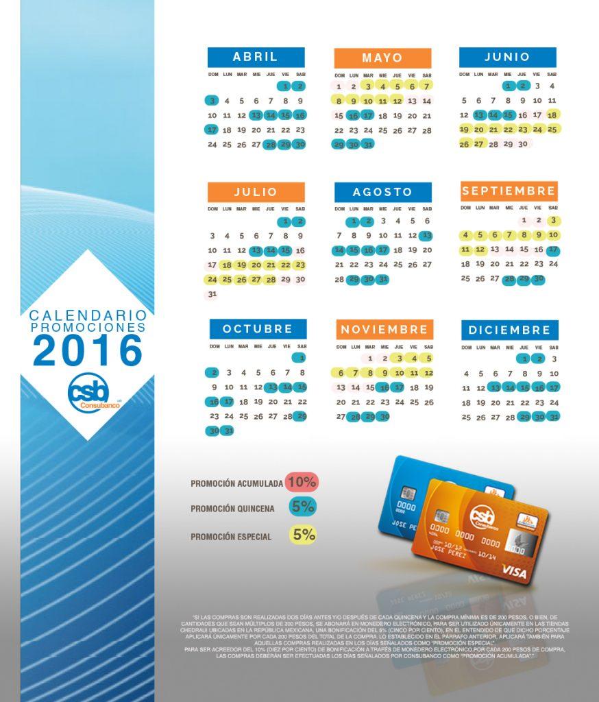 calendario bonificacion CSB