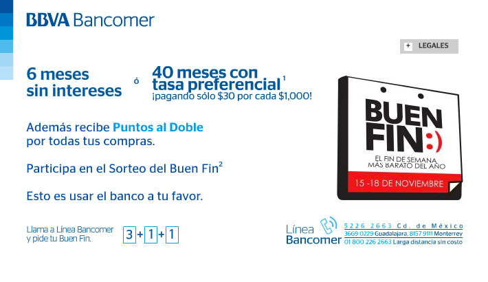 Tarjetas Bancomer El Buen Fin - LasTarjetasdeCredito.com.mx
